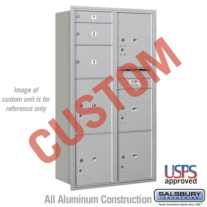 Recessed Mounted 4C Horizontal Mailbox - Maximum Height Unit (56 3/4 Inches) - Double Column - Custom - Rear Loading - USPS Access
