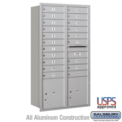 Recessed Mounted 4C Horizontal Mailbox - Maximum Height Unit (57 1/8 Inches) - Double Column - 20 MB1 Doors / 2 PL4.5's - Rear Loading - USPS Access