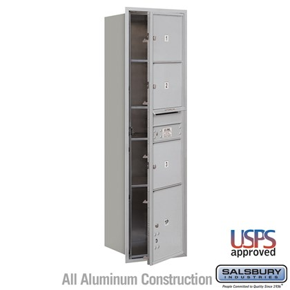 Recessed Mounted 4C Horizontal Mailbox - Maximum Height Unit (56 3/4 Inches) - Single Column - 3 MB3 Doors / 1 PL4.5 - Front Loading - USPS Access
