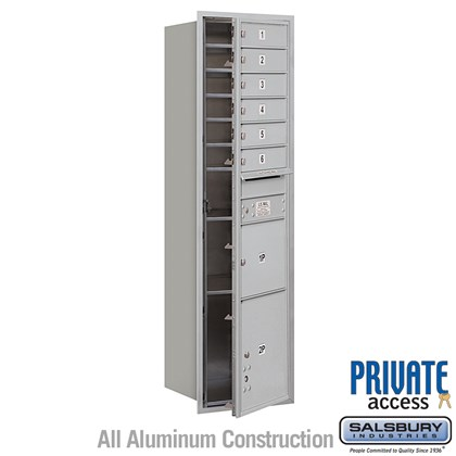 Recessed Mounted 4C Horizontal Mailbox (includes Master Commercial Locks) - Maximum Height Unit (57 1/8 Inches) - Single Column - 6 MB1 Doors / 1 PL3 and 1 PL4.5 - Front Loading - Private Access