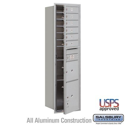 Recessed Mounted 4C Horizontal Mailbox - Maximum Height Unit (56-3/4 Inches) - Single Column - 6 MB1 Doors / 1 PL3 and 1 PL4.5 - Front Loading - USPS Access