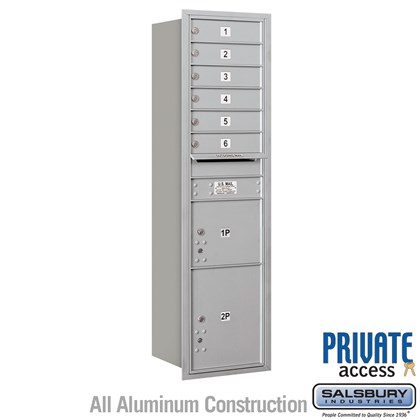 Recessed Mounted 4C Horizontal Mailbox (includes Master Commercial Locks) - Maximum Height Unit (56-3/4 Inches) - Single Column - 6 MB1 Doors / 1 PL3 and 1 PL4.5 - Rear Loading - Private Access