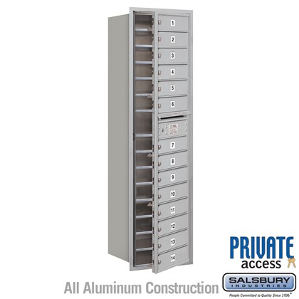 Recessed Mounted 4C Horizontal Mailbox (includes Master Commercial Locks) - Maximum Height Unit (57 1/8 Inches) - Single Column - 14 MB1 Doors - Front Loading - Private Access