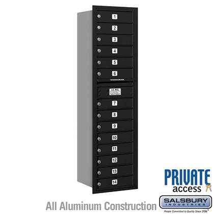 Recessed Mounted 4C Horizontal Mailbox (includes Master Commercial Locks) - Maximum Height Unit (56-3/4 Inches) - Single Column - 14 MB1 Doors - Rear Loading - Private Access