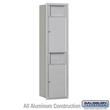 Recessed Mounted 4C Horizontal Receptacle Bin - Maximum Height Unit (56 3/4 Inches) - Single Column - 2 Receptacle Bins - Front Access