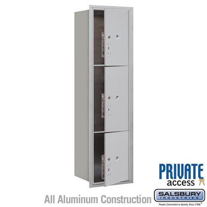 Recessed Mounted 4C Horizontal Mailbox (Includes Master Commercial Locks) - Maximum Height Unit (57 1/8 Inches) - Single Column - Stand-Alone Parcel Locker - 1 PL4.5, 1PL5 and 1 PL6 - Front Loading - Private Access