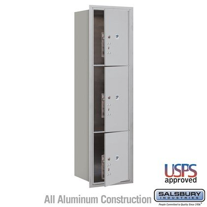 Recessed Mounted 4C Horizontal Mailbox - Maximum Height Unit (56 3/4 Inches) - Single Column - Stand-Alone Parcel Locker - 1 PL4.5, 1PL5 and 1 PL6 - Front Loading - USPS Access