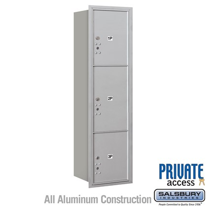 Recessed Mounted 4C Horizontal Mailbox (Includes Master Commercial Locks) - Maximum Height Unit (56 3/4 Inches) - Single Column - Stand-Alone Parcel Locker - 1 PL4.5, 1PL5 and 1 PL6 - Rear Loading - Private Access