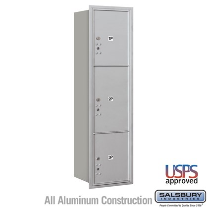 Recessed Mounted 4C Horizontal Mailbox - Maximum Height Unit (57 1/8 Inches) - Single Column - Stand-Alone Parcel Locker - 1 PL4.5, 1PL5 and 1 PL6 - Rear Loading - USPS Access
