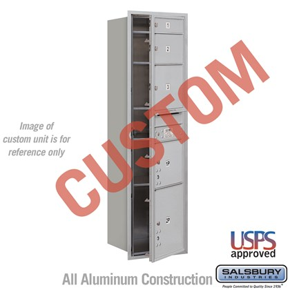 Recessed Mounted 4C Horizontal Mailbox - Maximum Height Unit (56 3/4 Inches) - Single Column - Custom - Front Loading - USPS Access