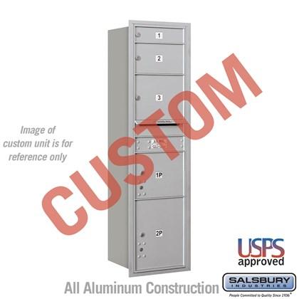 Recessed Mounted 4C Horizontal Mailbox - Maximum Height Unit (56 3/4 Inches) - Single Column - Custom - Rear Loading - USPS Access