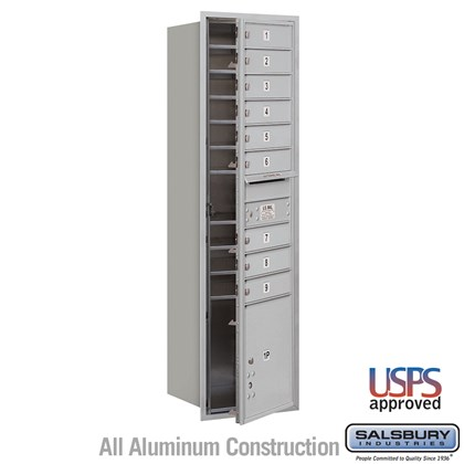 Recessed Mounted 4C Horizontal Mailbox - Maximum Height Unit (56 3/4 Inches) - Single Column - 9 MB1 Doors / 1 PL4.5 - Front Loading - USPS Access
