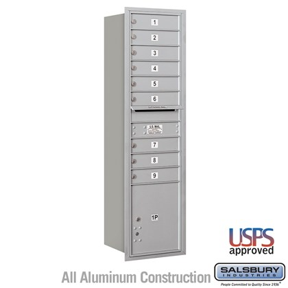 Recessed Mounted 4C Horizontal Mailbox - Maximum Height Unit (57 1/8 Inches) - Single Column - 9 MB1 Doors / 1 PL4.5 - Rear Loading - USPS Access