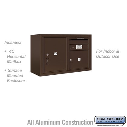 Surface Mounted 4C Horizontal Mailbox Unit (Includes 3705D-01ZFU Mailbox and 3805D-BRZ Enclosure) - 5 Door High Unit (21-1/8 Inches) - Double Column - 1 MB3 Door / 1 PL5 - Bronze - Front Loading - USPS Access