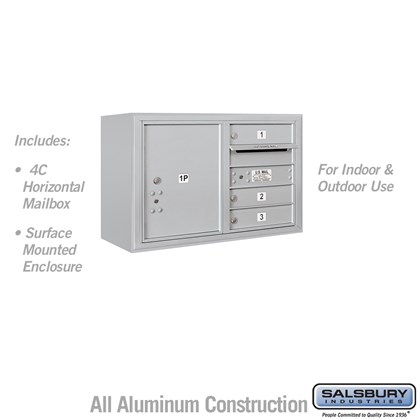 Surface Mounted 4C Horizontal Mailbox Unit (Includes 3705D-03 Mailbox and 3805D Enclosure) - 5 Door High Unit (21-1/8 Inches) - Double Column - 3 MB1 Doors / 1 PL5