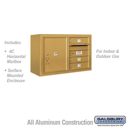 Surface Mounted 4C Horizontal Mailbox Unit (Includes 3705D-03GFU Mailbox and 3805D-GLD Enclosure) - 5 Door High Unit (21-1/8 Inches) - Double Column - 3 MB1 Doors / 1 PL5 - Gold - Front Loading - USPS Access