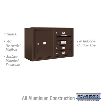 Surface Mounted 4C Horizontal Mailbox Unit (Includes 3705D-03ZFU Mailbox and 3805D-BRZ Enclosure) - 5 Door High Unit (21-1/8 Inches) - Double Column - 3 MB1 Doors / 1 PL5 - Bronze - Front Loading - USPS Access