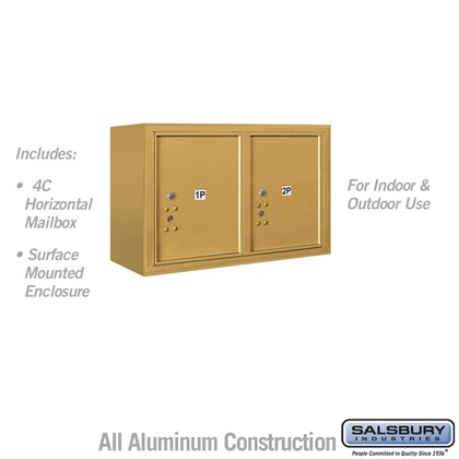 Surface Mounted 4C Horizontal Mailbox Unit (Includes 3705D-2PGFU Parcel Locker and 3805D-GLD Enclosure) - 5 Door High Unit (21-1/8 Inches) - Double Column - Stand-Alone Parcel Locker - 2 PL5's - Gold - Front Loading - USPS Access