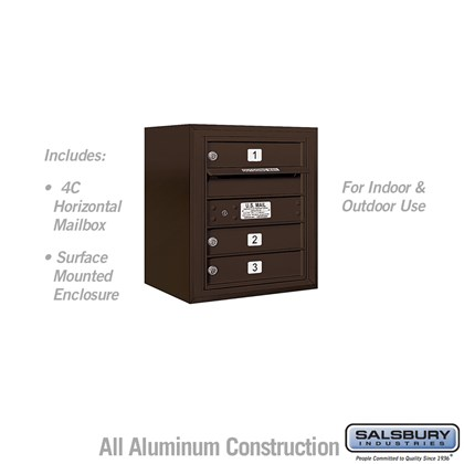 Surface Mounted 4C Horizontal Mailbox Unit (Includes 3705S-03ZFU Mailbox and 3805S-BRZ Enclosure) - 5 Door High Unit (21-1/8 Inches) - Single Column - 3 MB1 Doors - Bronze - Front Loading - USPS Access