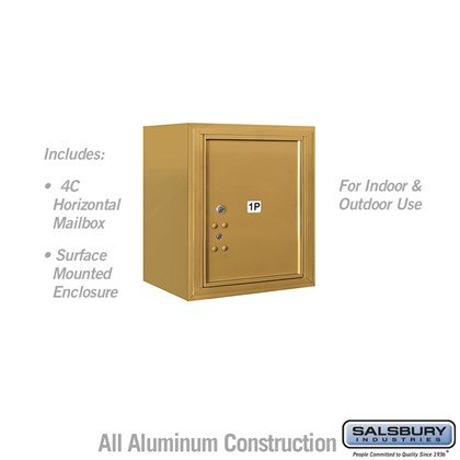 Surface Mounted 4C Horizontal Mailbox Unit (Includes 3705S-1PGFU Parcel Locker and 3805S-GLD Enclosure) - 5 Door High Unit (21-1/8 Inches) - Single Column - Stand-Alone Parcel Locker - 1 PL5 - Gold - Front Loading - USPS Access