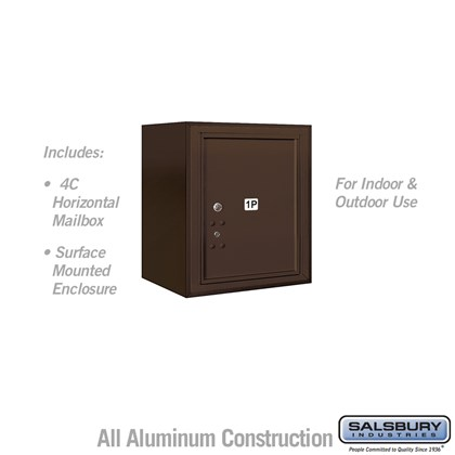 Surface Mounted 4C Horizontal Mailbox Unit (Includes 3705S-1PZFU Parcel Locker and 3805S-BRZ Enclosure) - 5 Door High Unit (21-1/8 Inches) - Single Column - Stand-Alone Parcel Locker - 1 PL5 - Bronze - Front Loading - USPS Access