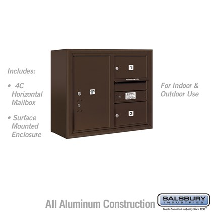 Surface Mounted 4C Horizontal Mailbox Unit (Includes 3706D-02ZFU Mailbox and 3806D-BRZ Enclosure) - 6 Door High Unit (24-5/8 Inches) - Double Column - 2 MB2 Doors / 1 PL6 - Bronze - Front Loading - USPS Access