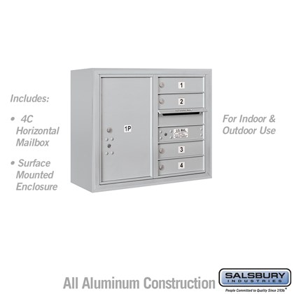 Surface Mounted 4C Horizontal Mailbox Unit (Includes 3706D-04AFU Mailbox and 3806D-ALM Enclosure) - 6 Door High Unit (24-5/8 Inches) - Double Column - 4 MB1 Doors / 1 PL6 - Aluminum - Front Loading - USPS Access