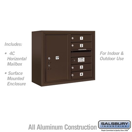 Surface Mounted 4C Horizontal Mailbox Unit (Includes 3706D-04ZFU Mailbox and 3806D-BRZ Enclosure) - 6 Door High Unit (24-5/8 Inches) - Double Column - 4 MB1 Doors / 1 PL6 - Bronze - Front Loading - USPS Access