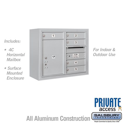 Surface Mounted 4C Horizontal Mailbox Unit (Includes 3706D-05 Mailbox, 3806D Enclosure and Master Commercial Locks) - 6 Door High Unit (24 1/2 Inches) - Double Column - 5 MB1 Doors / 1 PL5 - Front Loading - Private Access