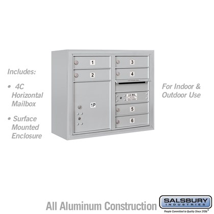 Surface Mounted 4C Horizontal Mailbox Unit (Includes 3706D-06AFU Mailbox and 3806D-ALM Enclosure) - 6 Door High Unit (24-5/8 Inches) - Double Column - 6 MB1 Doors / 1 PL4 - Aluminum - Front Loading - USPS Access