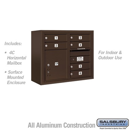 Surface Mounted 4C Horizontal Mailbox Unit (Includes 3706D-06ZFU Mailbox and 3806D-BRZ Enclosure) - 6 Door High Unit (24-5/8 Inches) - Double Column - 6 MB1 Doors / 1 PL4 - Bronze - Front Loading - USPS Access