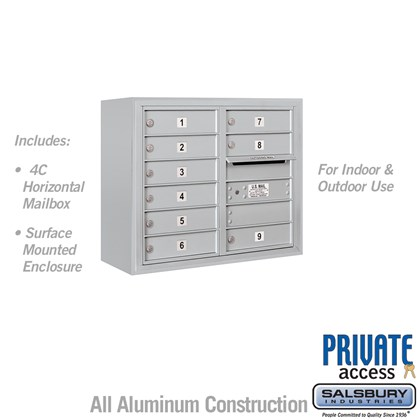 Surface Mounted 4C Horizontal Mailbox Unit (Includes 3706D-09 Mailbox, 3806D Enclosure and Master Commercial Lock) - Double Column - 9 MB1 Doors
