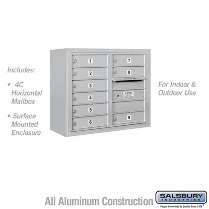 Surface Mounted 4C Horizontal Mailbox Unit (Includes 3706D-09 Mailbox and 3806D Enclosure) - 6 Door High Unit (24-5/8 Inches) - Double Column - 9 MB1 Doors