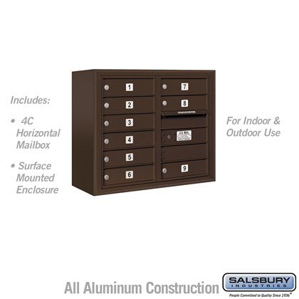 Surface Mounted 4C Horizontal Mailbox Unit (Includes 3706D-09ZFU Mailbox and 3806D-BRZ Enclosure) - 6 Door High Unit (24-5/8 Inches) - Double Column - 9 MB1 Doors - Bronze - Front Loading - USPS Access
