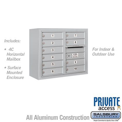Surface Mounted 4C Horizontal Mailbox Unit (Includes 3706D-10 Mailbox, 3806D Enclosure and Master Commercial Lock) - Double Column - 10 MB1 Doors