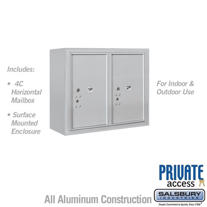 Surface Mounted 4C Horizontal Mailbox Unit (Includes 3706D-2P Parcel Locker, 3806D Enclosure and Master Commercial Locks) - 6 Door High Unit (24 1/2 Inches) - Double Column - Stand-Alone Parcel Locker - 2 PL6's