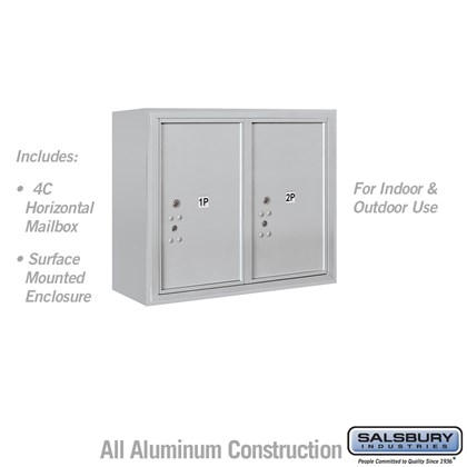 Surface Mounted 4C Horizontal Mailbox Unit (Includes 3706D-2P Parcel Locker and 3806D Enclosure) - 6 Door High Unit (24-5/8 Inches) - Double Column - Stand-Alone Parcel Locker - 2 PL6's