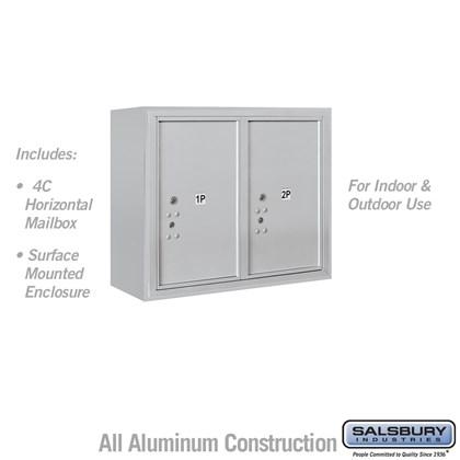 Surface Mounted 4C Horizontal Mailbox Unit (Includes 3706D-2P Parcel Locker and 3806D Enclosure) - 6 Door High Unit (24 1/2 Inches) - Double Column - Stand-Alone Parcel Locker - 2 PL6's