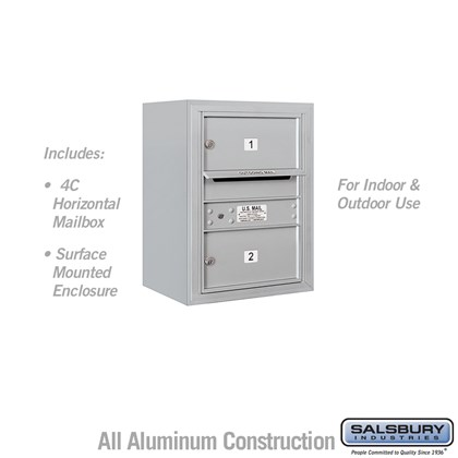 Surface Mounted 4C Horizontal Mailbox Unit (Includes 3706S-02 Mailbox and 3806S Enclosure) - 6 Door High Unit (24-5/8 Inches) - Single Column - 2 MB2 Doors