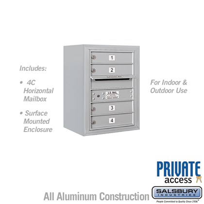 Surface Mounted 4C Horizontal Mailbox Unit (Includes 3706S-04 Mailbox, 3806SEnclosure and Master Commercial Lock) - Single Column - 4 MB1 Doors