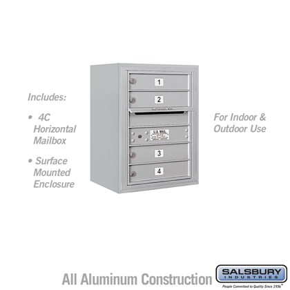 Surface Mounted 4C Horizontal Mailbox Unit (Includes 3706S-04 Mailbox and 3806SEnclosure) - 6 Door High Unit (24 1/2 Inches) - Single Column - 4 MB1 Doors
