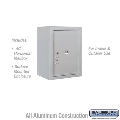 Surface Mounted 4C Horizontal Mailbox Unit (Includes 3706S-1P Parcel Locker, 3806S Enclosure) - 6 Door High Unit (24 1/2 Inches) - Single Column - Stand-Alone Parcel Locker