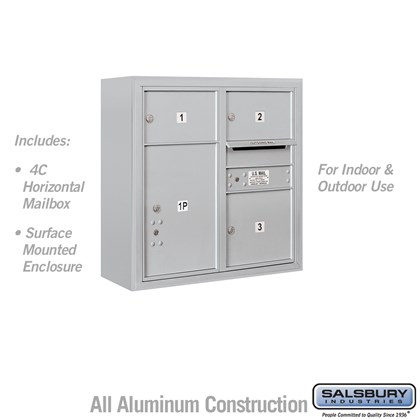 Surface Mounted 4C Horizontal Mailbox Unit (Includes 3707D-03 Mailbox and 3807D Enclosure) - 7 Door High Unit (28-1/8 Inches) - Double Column - 2 MB2 Doors / 1 MB3 Door / 1 PL5