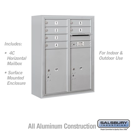 Surface Mounted 4C Horizontal Mailbox Unit (Includes 3710D-06 Mailbox and 3810D Enclosure) - 10 Door High Unit (38 1/2 Inches) - Double Column - 6 MB1 Doors / 2 PL6's - Front Loading - USPS Access