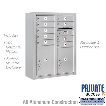 Surface Mounted 4C Horizontal Mailbox Unit (Includes 3710D-09 Mailbox, 3810D Enclosure and Master Commercial Locks) - 10 Door High Unit (38 1/2 Inches) - Double Column - 9 MB1 Doors / 1 PL4.5 and 1 PL5 - Front Loading - Private Access