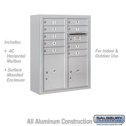 Surface Mounted 4C Horizontal Mailbox Unit (Includes 3710D-09 Mailbox and 3810D Enclosure) - 10 Door High Unit (38 1/2 Inches) - Double Column - 9 MB1 Doors / 1 PL4.5 and 1 PL5 - Front Loading - USPS Access