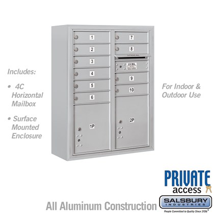 10 Door High Surface Mounted 4C Horizontal Mailbox with 10 Doors and 2 Parcel Lockers in Aluminum with Private Access