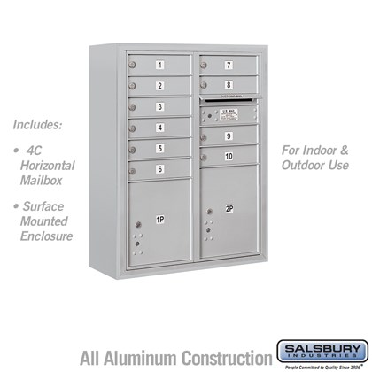 10 Door High Surface Mounted 4C Horizontal Mailbox with 10 Doors and 2 Parcel Lockers in Aluminum with USPS Access