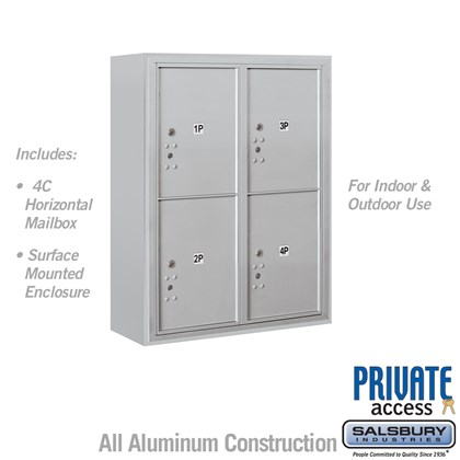 Surface Mounted 4C Horizontal Mailbox Unit (Includes 3710D-4P Parcel Locker, 3810D Enclosure and Master Commercial Locks) - 10 Door High Unit (38 1/2 Inches) - Double Column - Stand-Alone Parcel Locker - 4 PL5's