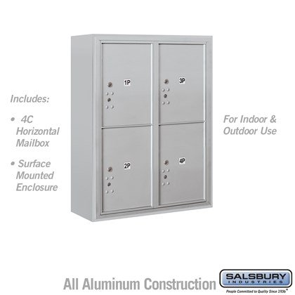 Surface Mounted 4C Horizontal Mailbox Unit (Includes 3710D-4P Parcel Locker and 3810D Enclosure) - 10 Door High Unit (38 1/2 Inches) - Double Column - Stand-Alone Parcel Locker - 4 PL5's